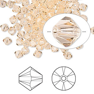 Swarovski kristal, Xilion bicones, 4mm, light peach