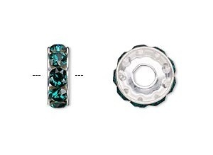 Swarovski BeCharmed rondelle kraal (77512) 12x4,5mm, rhodiumplated met emerald kristal