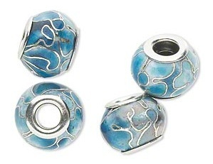 Cloisonné kraal, 14x10mm, zilverplated hart, gat 5mm, blauw