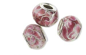 Cloisonné kraal, 14x10mm, zilverplated hart, gat 5mm, roze