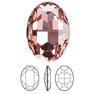 Swarovski kristal, fancy stone, ovaal 30x22mm, light rose met zilverfoil rug
