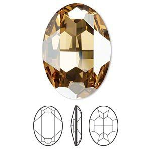 Swarovski kristal, fancy stone, ovaal 30x22mm, crystal golden shadow met zilverfoil rug