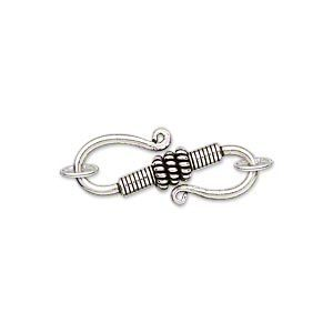 Sterling zilver S-slot, 24x10mm, met 2 ringen
