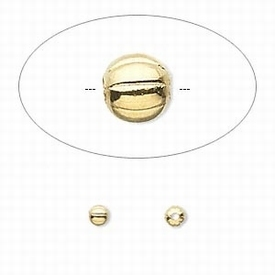 Goudplated kralen, rond 3mm, geribbeld (corrugated)