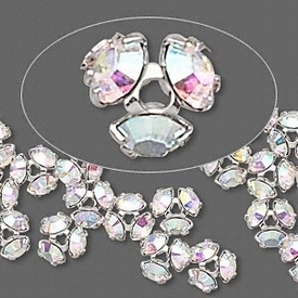 Swarovski kristal, rodiumplated kralencap met crystal AB, 7mm, past op 8mm kraal, Verkocht per 2.