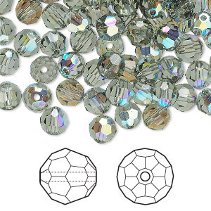 Swarovski kristal, ronde kralen, 6mm, black diamond AB